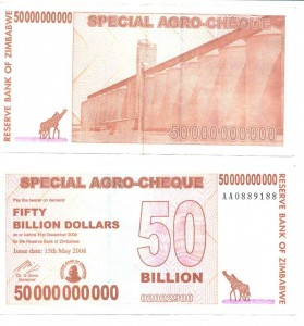 50 billion Dollar note, Zimbabwe