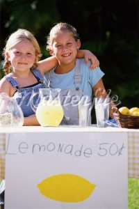 Child selling lemonade