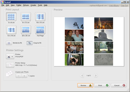Picasa screenshot - print multiple photos on an A4 page